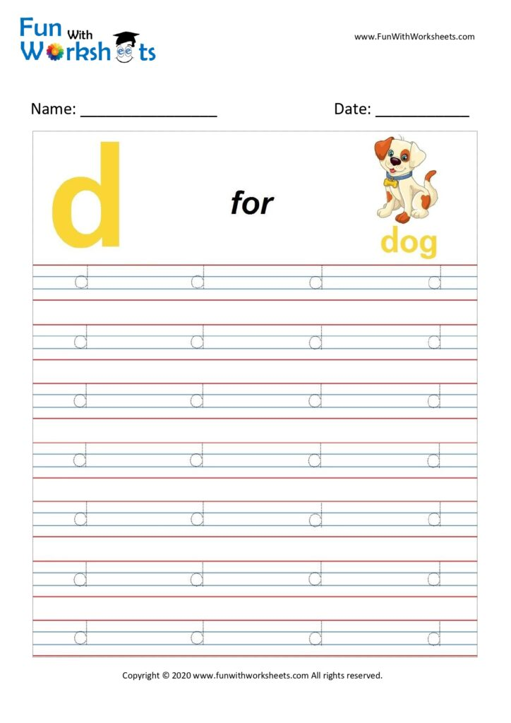 Trace Alphabets Small Letter 'd' - Free Printable Worksheets