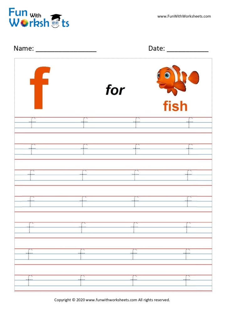 Trace Alphabets Small Letter 'f' - Free Printable Worksheets
